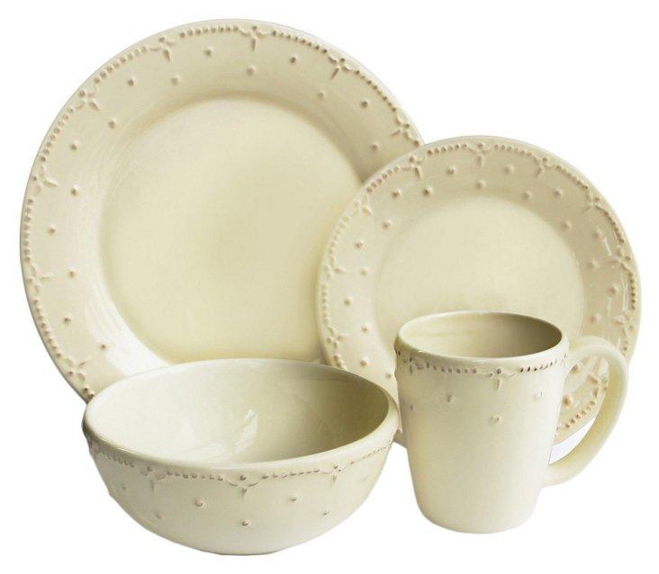 16-Pc Genevieve Dinnerware Set, Cream