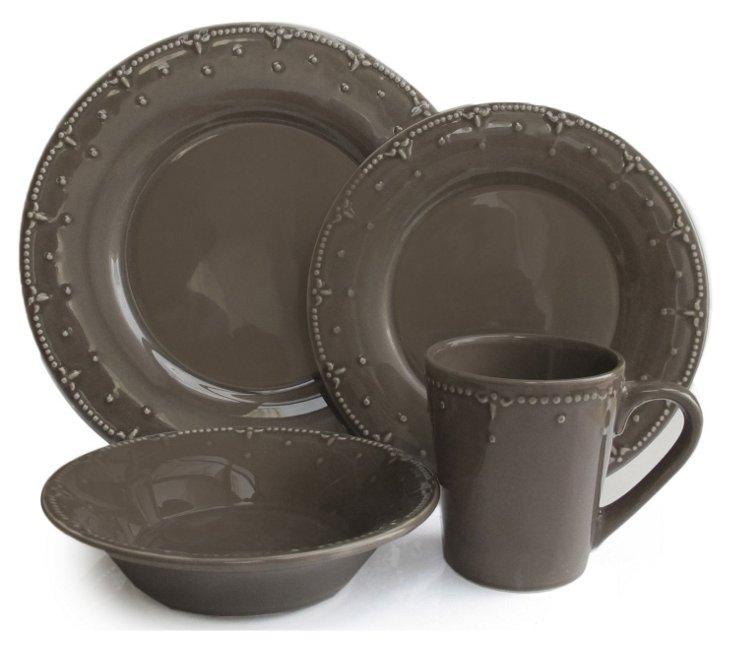16-Pc Genevieve Dinnerware Set, Gray