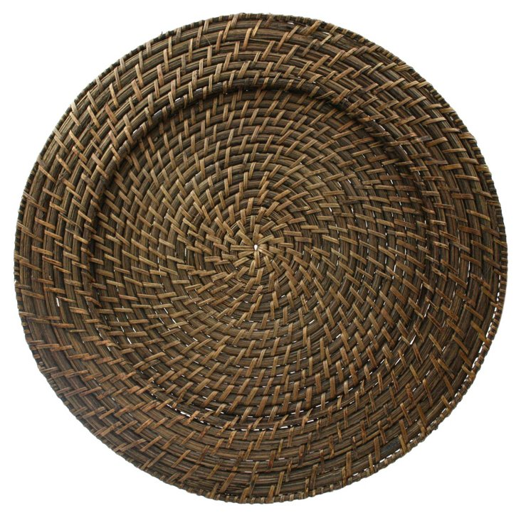 Round Rattan Chargers, Brown