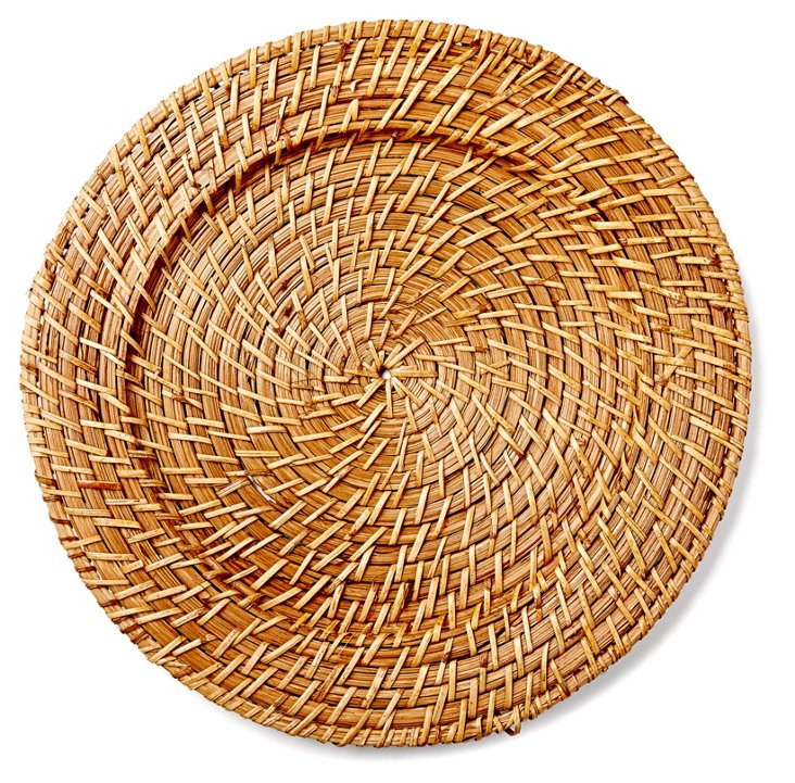 S/4 Round Rattan Chargers, Light Brown