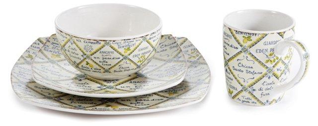 16-Pc Piastrelle Waverly Dinnerware Set