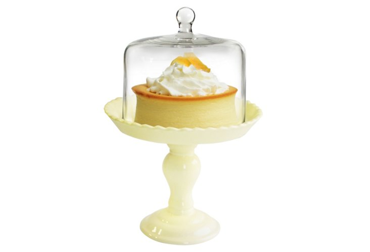 Pedestal Plate with Glass Dome, Cream
