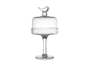 "Little Birds Pedestal Plate w/ Dome, 13"""