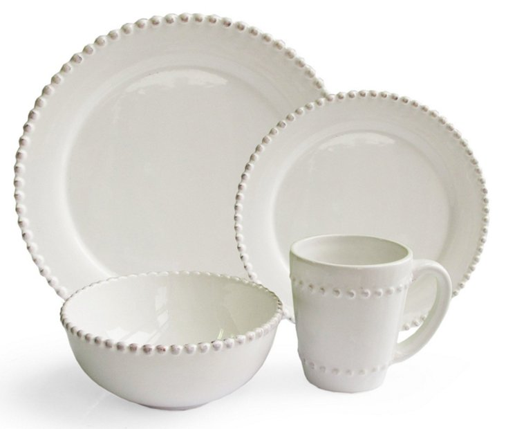 16-Pc Bianca Bead Round Dinnerware Set