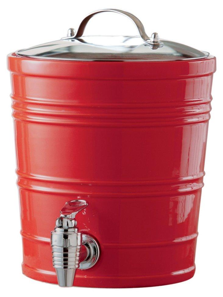 Ceramic Beverage Dispenser, Red
