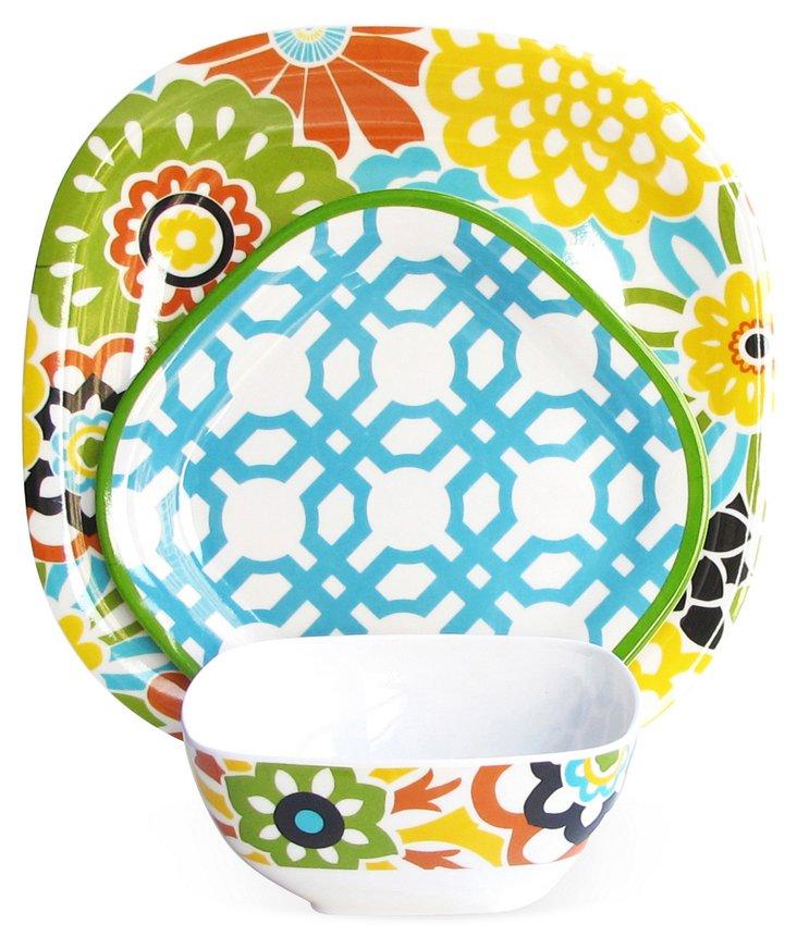 12-Pc Melamine Floral Dinnerware Set