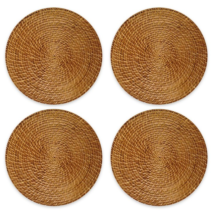 S/4 Round Rattan Place Mats, Honey