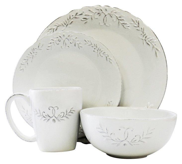 16-Pc Bianca Laurel Dinner Set, White
