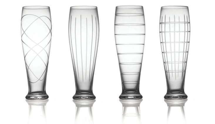 S/4 Asst. Medallion Pilsner Glasses