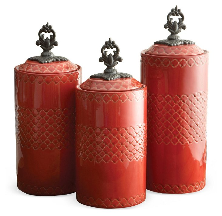 Canisters, Red, Asst. of 3