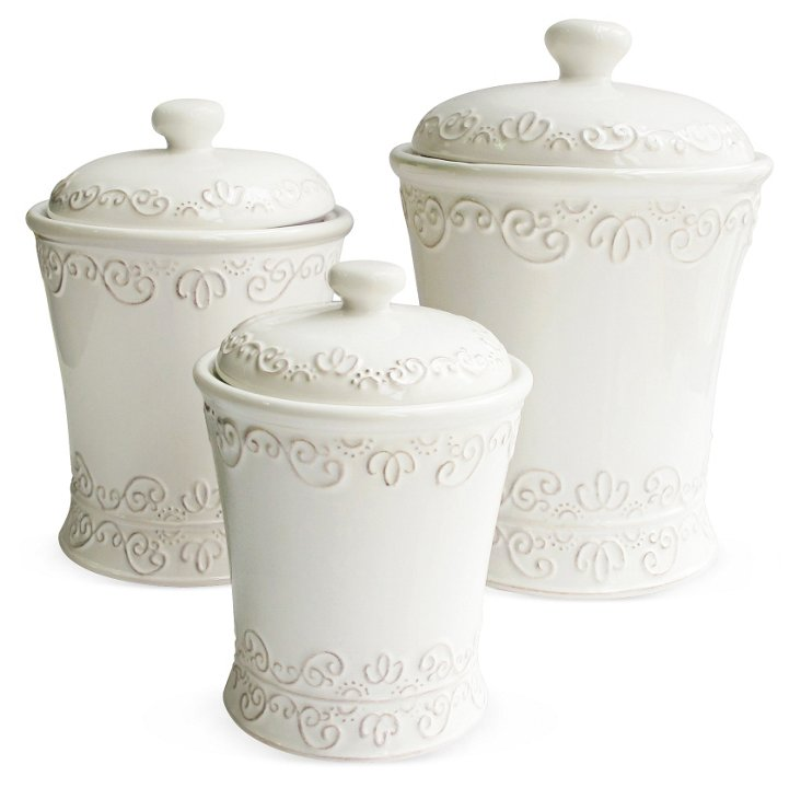 S/3 Bianca Scroll Canisters