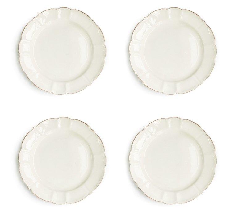 S/4 Italia Scallop Dinner Plates, White