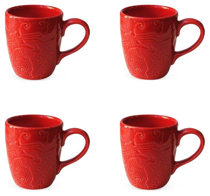 S/4 Labrinto Mugs, Red