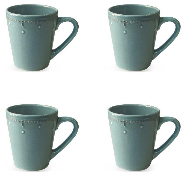 S/4 Genevieve Mugs, Blue