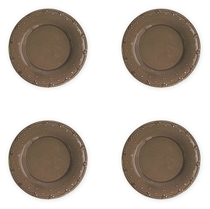 S/4 Genevieve Salad Plates, Brown