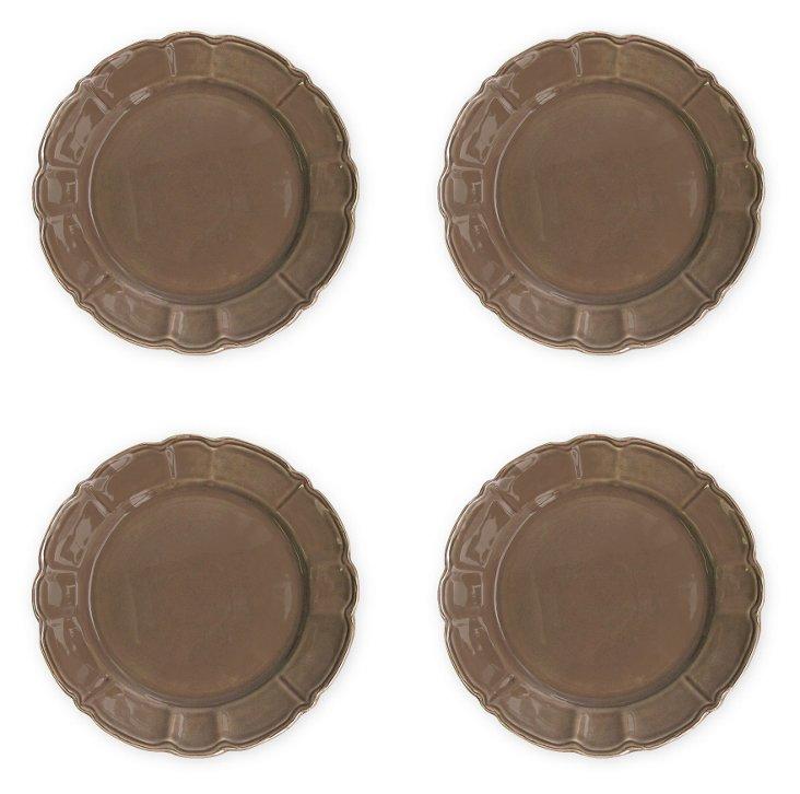 S/4 Italia Scallop Dinner Plates, Brown