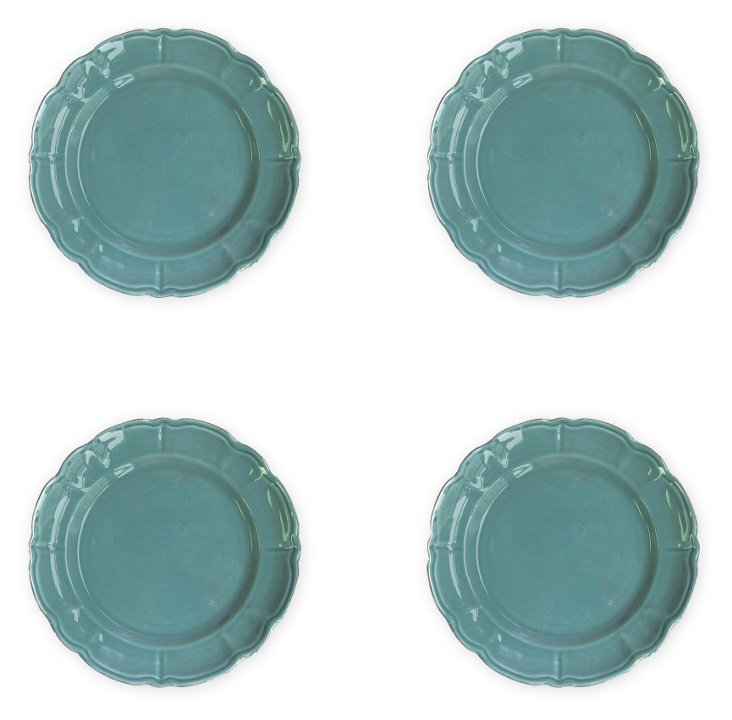 S/4 Italia Scallop Salad Plates, Blue