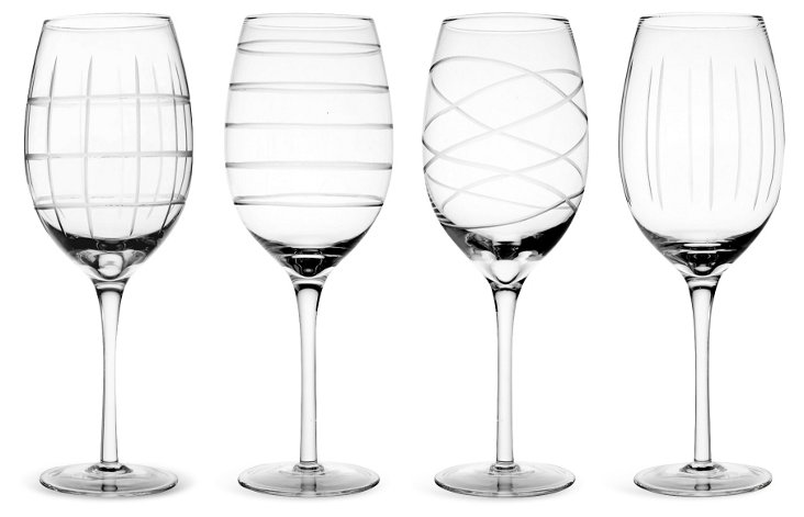 S/4 Assorted Medallion White-Wine Glasses