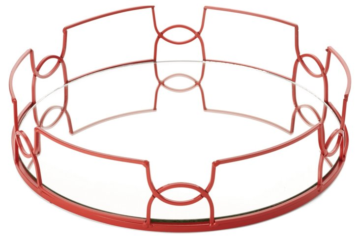 "15"" Mirror Tray, Red"