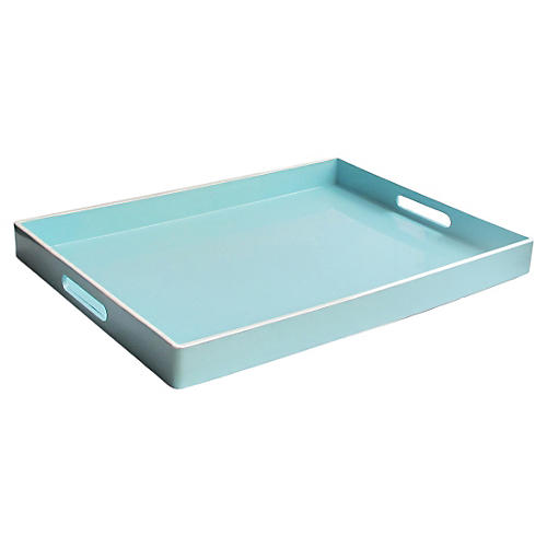"19"" Rectangular Tray, Teal/White"