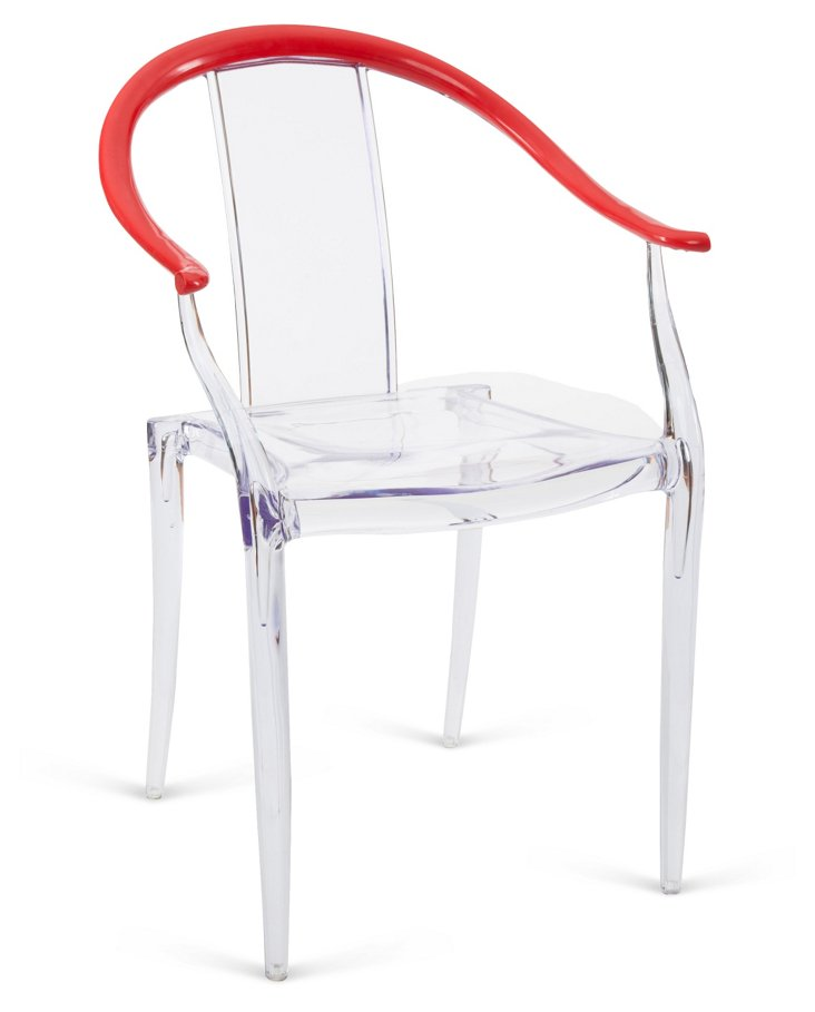 Bea Modern Armchair, Clear/Red