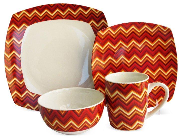 16-Pc Porcelain Zig-Zag Dinnerware Set