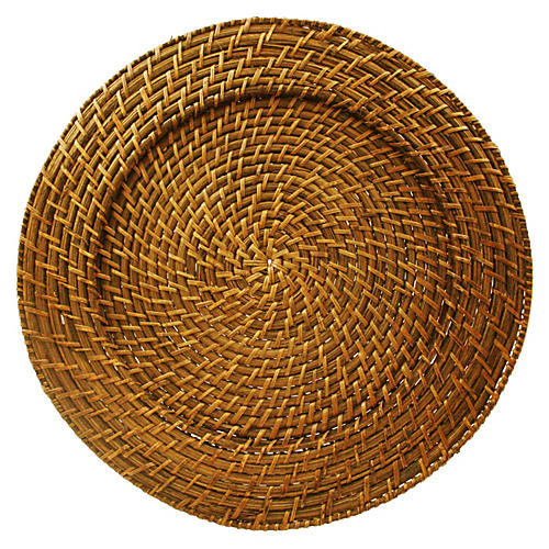 S/4 Harvest Rattan Round Charger Plates
