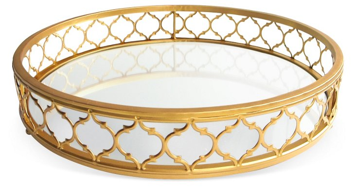 "16"" Metal & Mirror Tray, Gold"