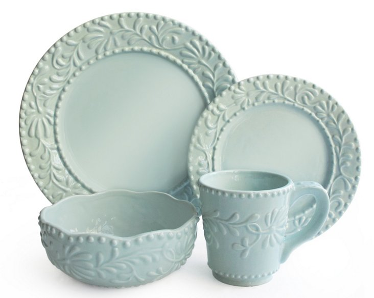 16-Pc Bianca Leaf Dinnerware Set, Blue