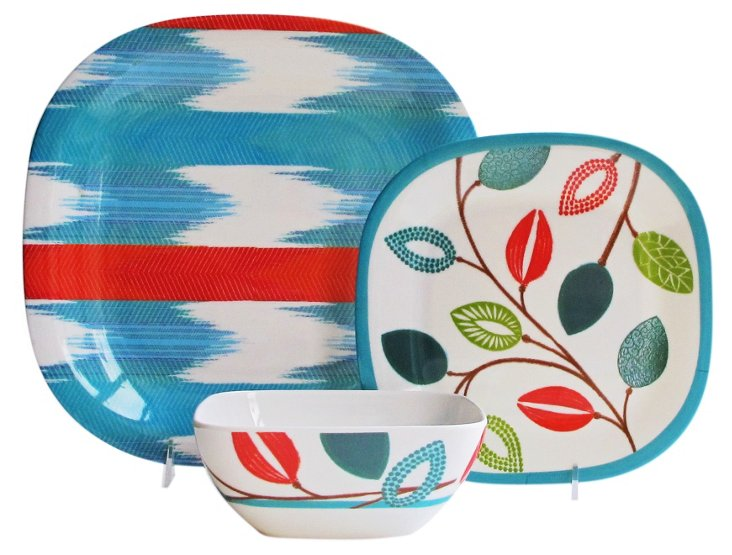 12-Pc Melamine Beach Dinnerware Set
