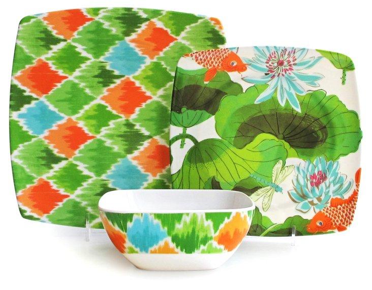 12-Pc Melamine Pond Dinnerware Set