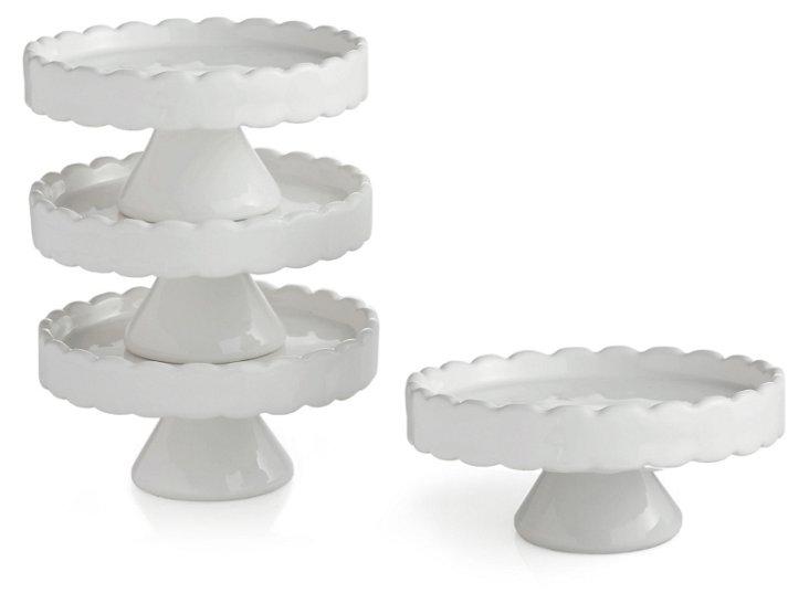 S/4 Scallop Cupcake Pedestal Plates