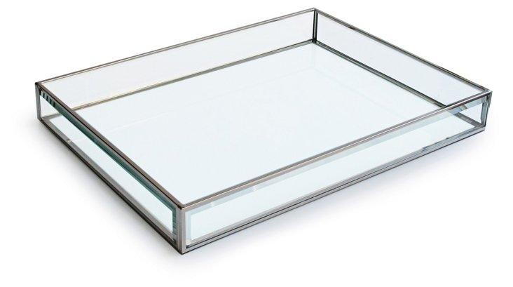 "16"" Glass Tray, White"