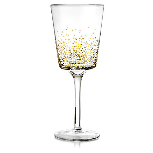 S/4 Gold Luster Red-Wine Goblets