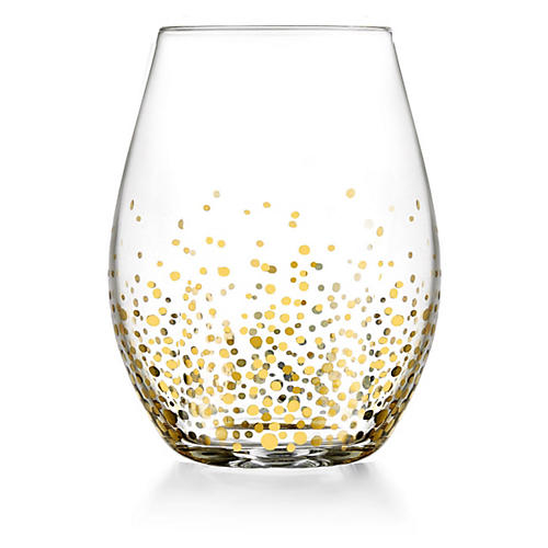 S/4 Gold Luster Stemless Glasses