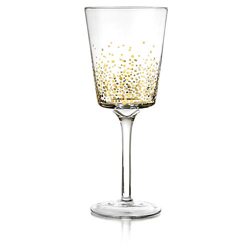 S/4 Luster White-Wine Glasses, Gold/Clear