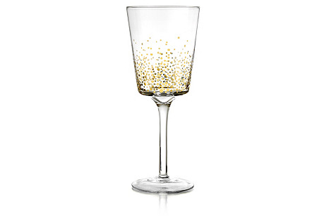 S/4 Gold Luster White-Wine Glasses*