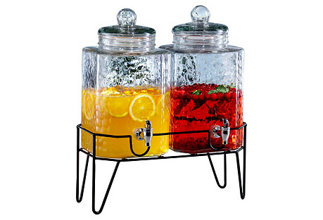 S/2 Hamburg Dispensers w/ Stand, 1.5 gal