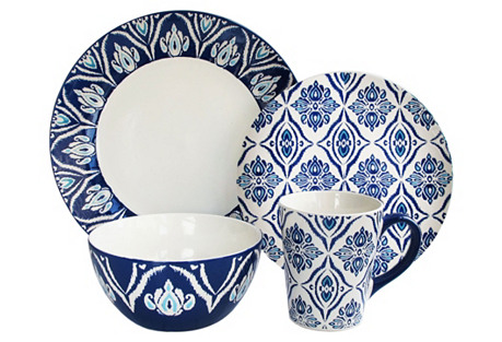 16-Pc Pirouette Blue/White Dinner Set