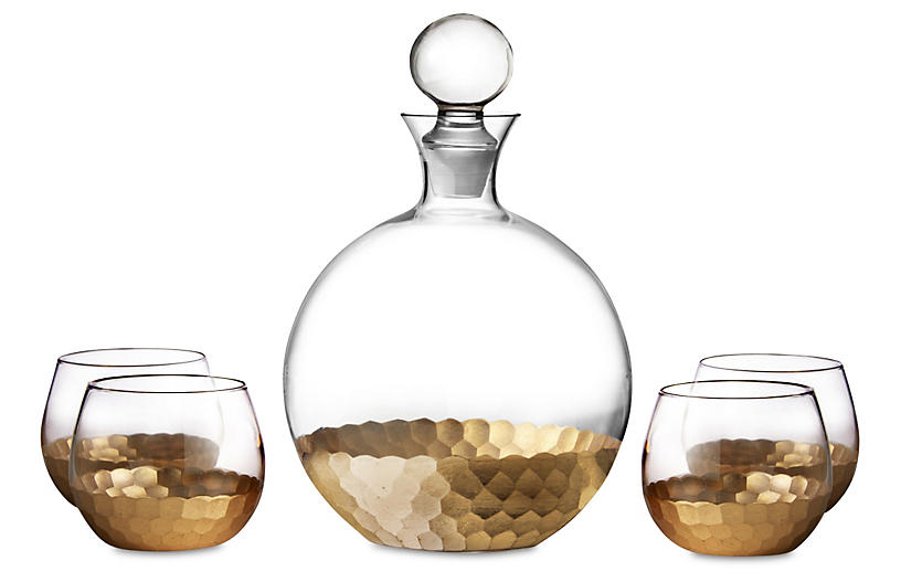 5-Pc Luster Decanter Set, Gold