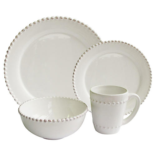 16-Pc Bianca Bead Dinnerware Set