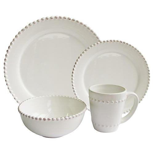 16-Pc Bianca Bead Dinnerware Set
