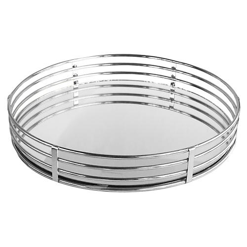 "15"" Round Mirrored Tray, Silver"
