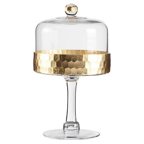 Daphne Cake Stand w/Dome, Gold