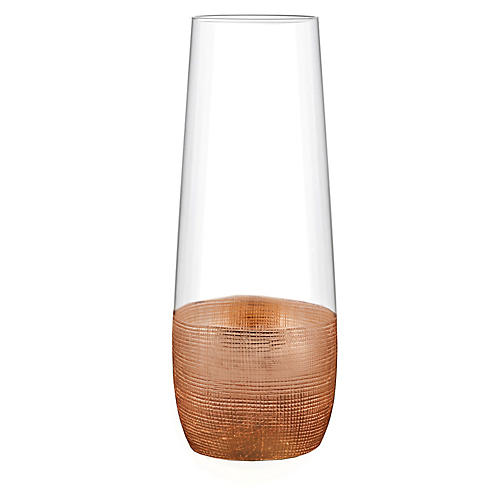 S/4 Stemless Flutes, Linen Copper