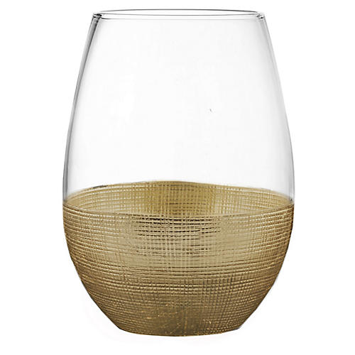 S/4 Stemless Glasses, Linen Gold