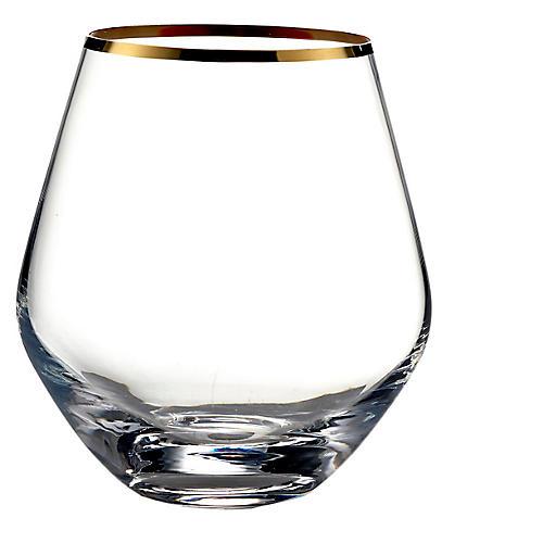 S/4 24K Gold Rim Curved Stemless Glasses