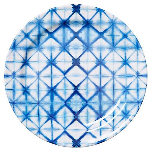 S/4 Ayelet Melamine Dinner Plates, Blue/White