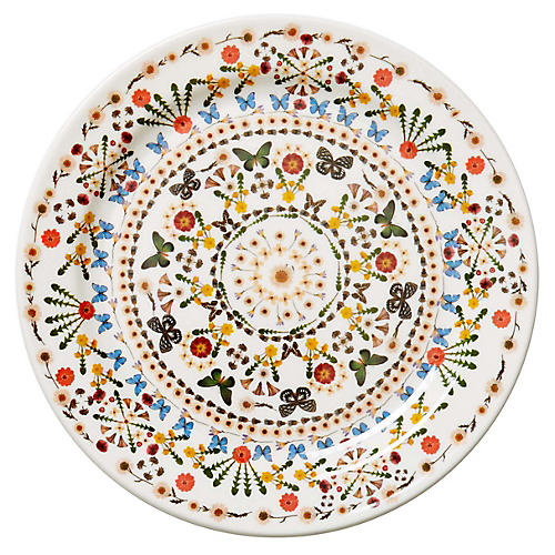 S/4 Butterfly Melamine Dinner Plates, White/Multi