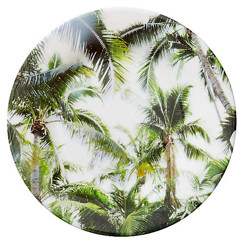 S/4 Palm Trees Melamine Salad Plates, Green/Multi